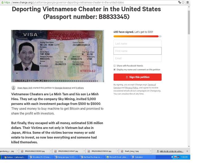 Kiến nghị Mỹ trục xuất ông Lê Minh Tâm về nước /// Chụp màn hình